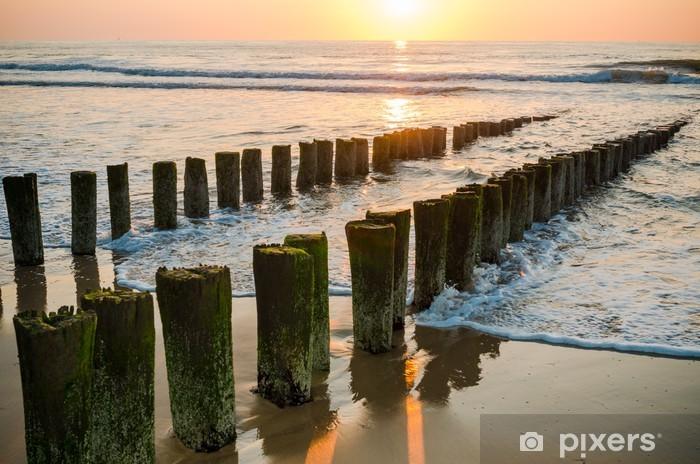 Fototapeta winylowa Falochrony na plaży o zachodzie słońca w Domburg holland - Tematy