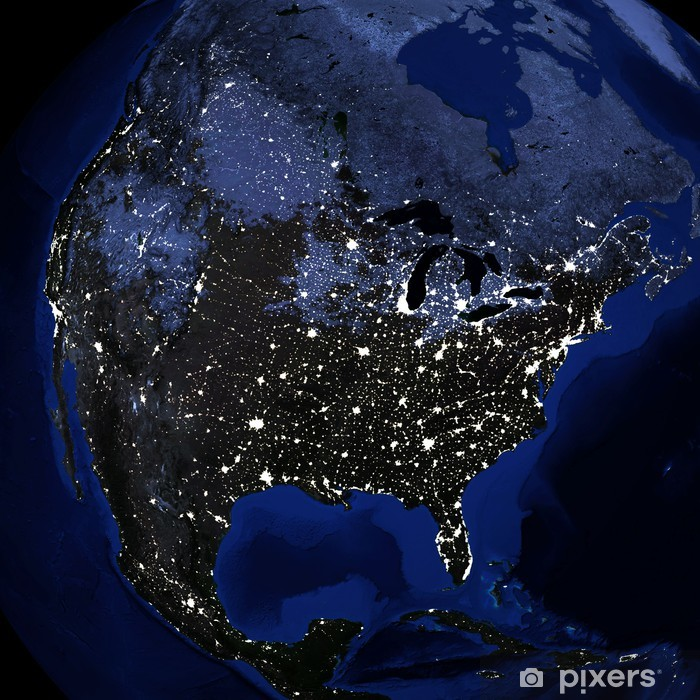 Fototapeta winylowa Powierzchnia noc z planety Ziemia - Przestrzeń kosmiczna