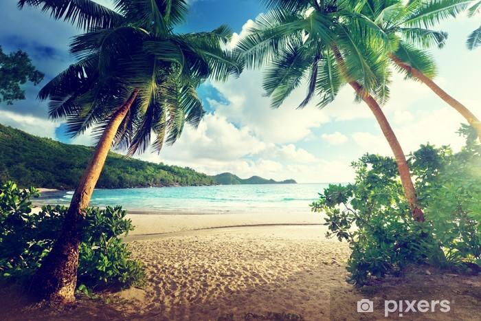 Fotomural Estándar Puesta de sol en la playa, la isla de Mahe, Seychelles - Temas