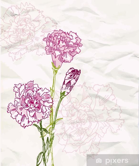 Naklejka Pixerstick Szkic kwiat goździka - Tła