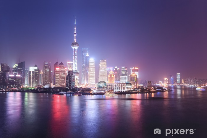 Sticker Pixerstick Shanghai skyline at night - Paysages urbains