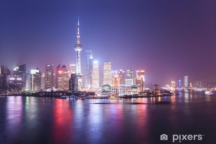 Vinilo Pixerstick Shanghai horizonte de la noche - Urbano