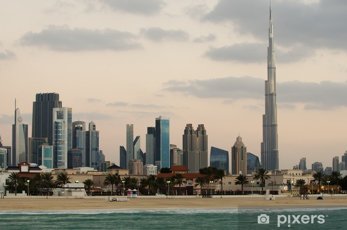 Downtown of Dubai (United Arab Emirates). View from the beach Pixerstick Sticker - Themes