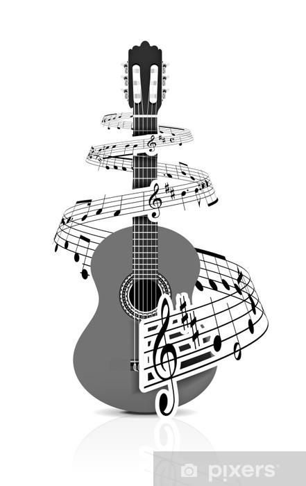 Papier peint vinyle Notes de musique avec le guitariste - Sticker mural