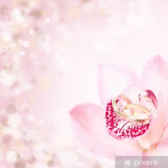 Papier peint vinyle Orchidées et les anneaux de mariage roses - Fleurs