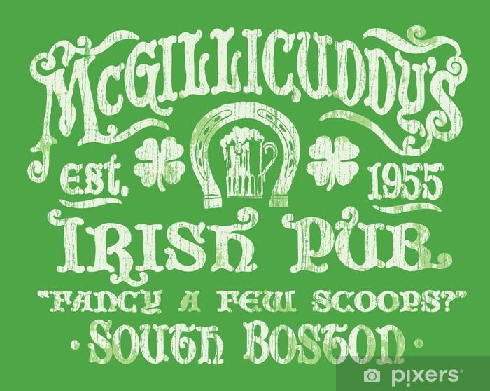 Fototapeta winylowa Vintage Irish Pub Zaloguj Koszulka Graphic - Rozrywka