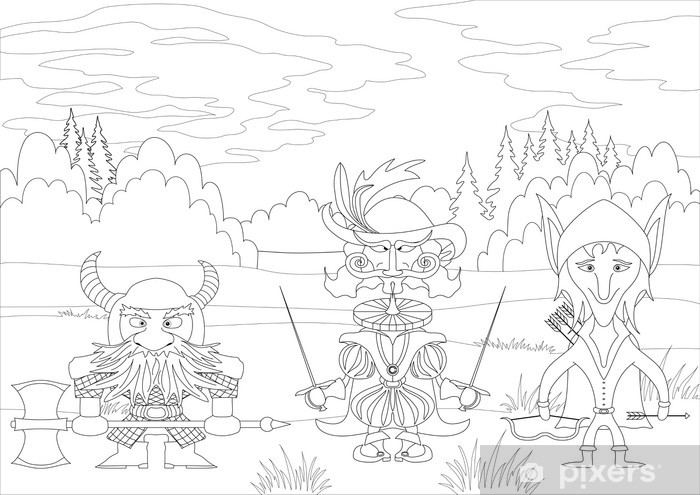 Fantasy heroes in forest, contour Vinyl Wall Mural - Esoteric