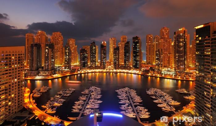 Dubai Marina at Dusk showing numerous skyscrapers Pixerstick Sticker - Themes