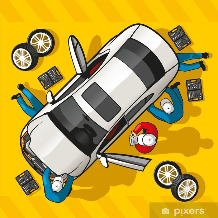 Naklejka Pixerstick Naprawa samochodów - Koncepcje biznesowe