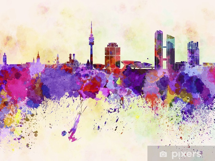 Munich skyline in watercolor background Self-Adhesive Wall Mural - Themes