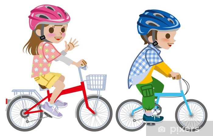 Aufkleber Kinder Fahren Fahrrad Helm Isoliert Pixerstick