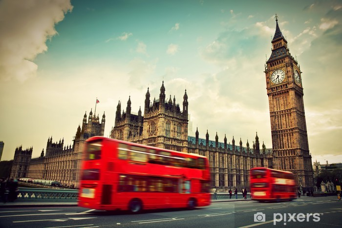 London, the UK. Red bus in motion and Big Ben Pixerstick Sticker - Themes