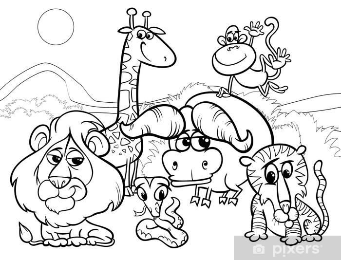 Vahşi Hayvanlar Karikatür Boyama Duvar Resmi Pixers Haydi