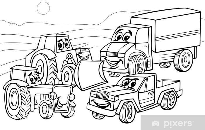 Araclar Makineleri Karikatur Boyama Duvar Resmi Pixers Haydi