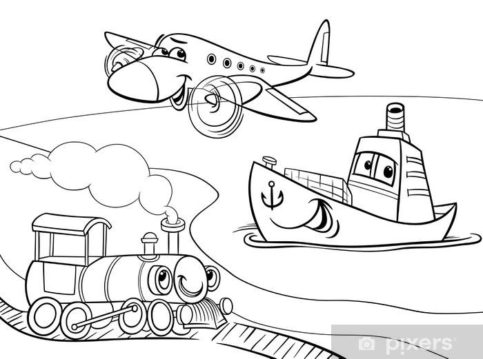 Vinilo Para Puerta Tren Barco Avión Para Colorear De Dibujos Animados