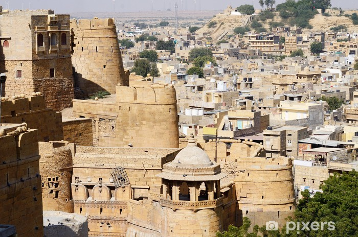 Naklejka Pixerstick Zobacz złote fort Jaisalmer z miasta w Indiach, Azji - Azja