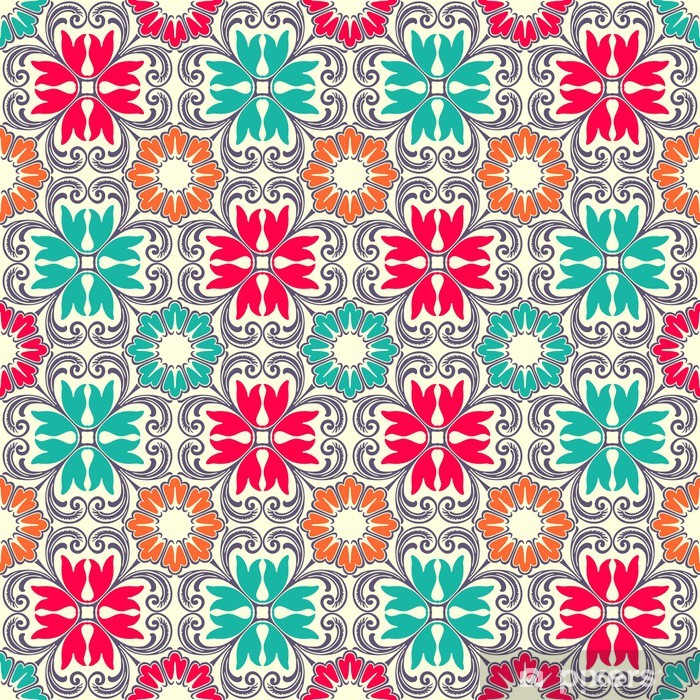 Papier peint vinyle Tuiles d'ornement colorés sans soudure - Arrière plans