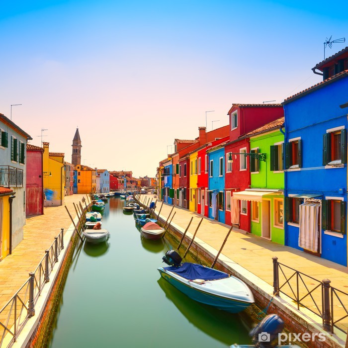 Venice landmark, Burano island canal, colorful houses and boats, Poster - Themes