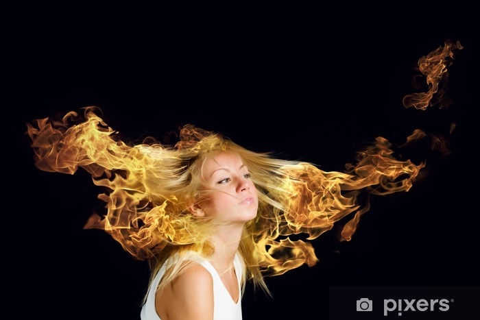 Fototapeta winylowa Blond w ogniu - Moda