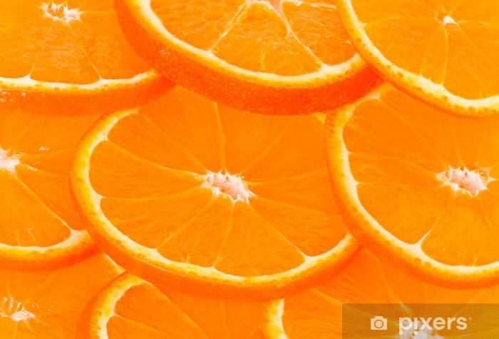 Naklejka Pixerstick Zdrowa żywność, abstrakcyjne tło. plastry pomarańczy - Tematy