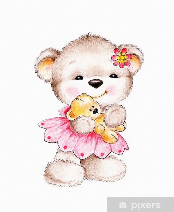 Naklejka Pixerstick Cute misia z Baby Bear - Kartki z życzeniami