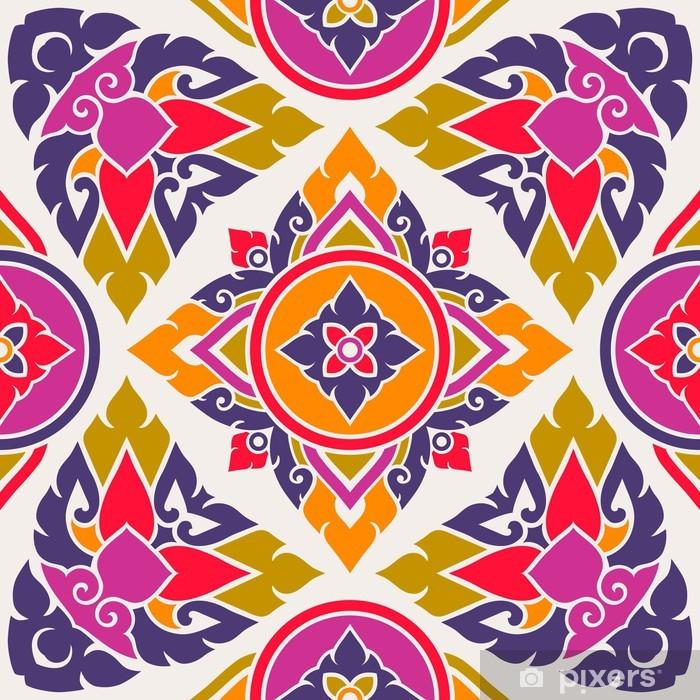 Naklejka Pixerstick Bezszwowe tło wektor orientalny styl tajski - Sztuka i twórczość