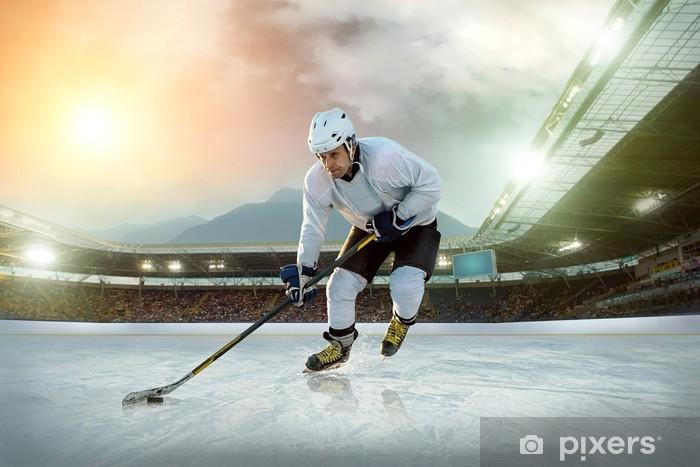 Pixerstick Sticker Ijshockeyspeler op het ijs. Open stadion - Winter Classic spel - Individuele sport