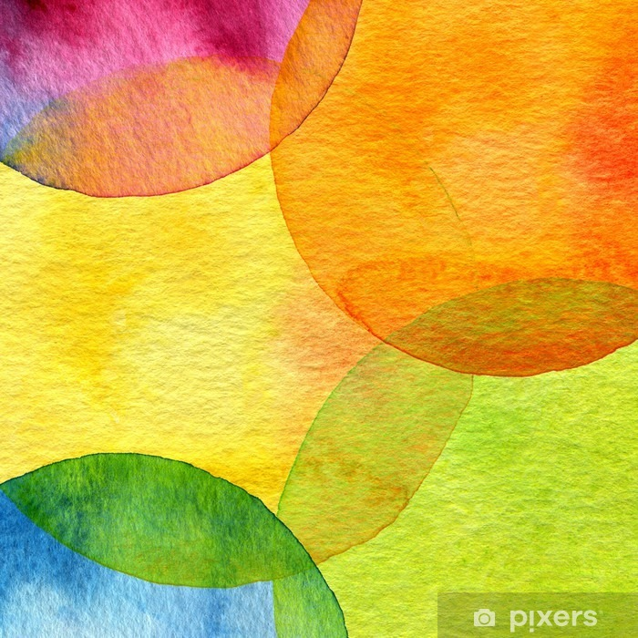 Vinilo Pixerstick Fondo abstracto del círculo pintado acuarela - Estilos