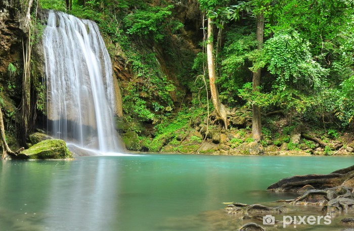 Green Waterfall in Tropical Rainforest Vinyl Wall Mural - Themes