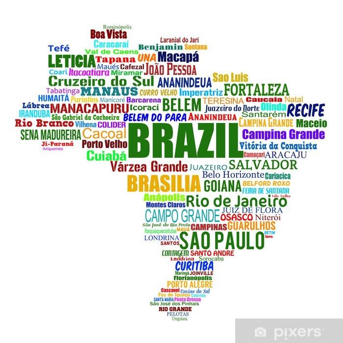 Fototapeta winylowa Mapa Brazylia i słowa z większych miastach - Tła