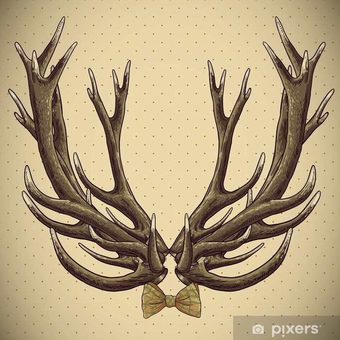 Hipster Vintage Background With Deer Antlers Wall Mural Pixers We Live To Change