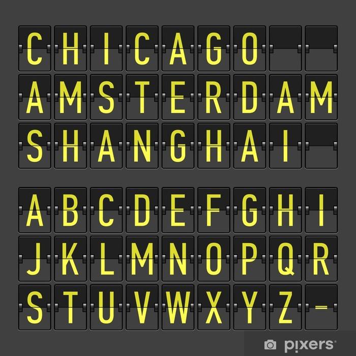 Fototapeta winylowa Terminal lotniska rozkład jazdy, tablica informacyjna, alfabet wyświetlacz - Tematy