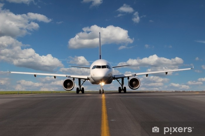 Papier peint vinyle Voir d'un œil à l'avion sur la voie de circulation - Thèmes