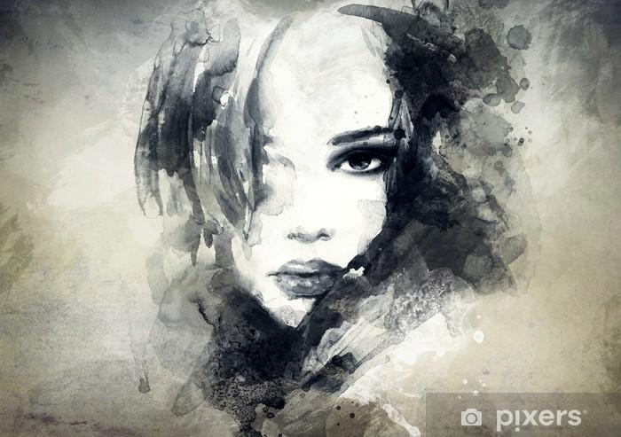 Bureau- en Tafelsticker Abstract vrouwenportret -