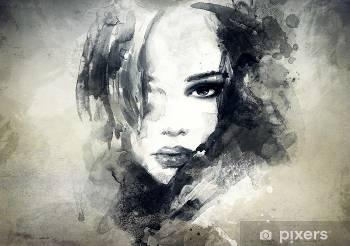 Kaststicker Abstract vrouwenportret -