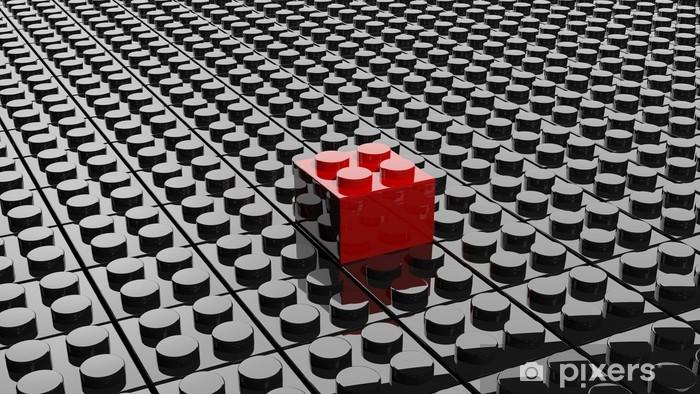 Fototapeta winylowa Czarnym tle z jednym lego bloku stały się czerwone - Tła