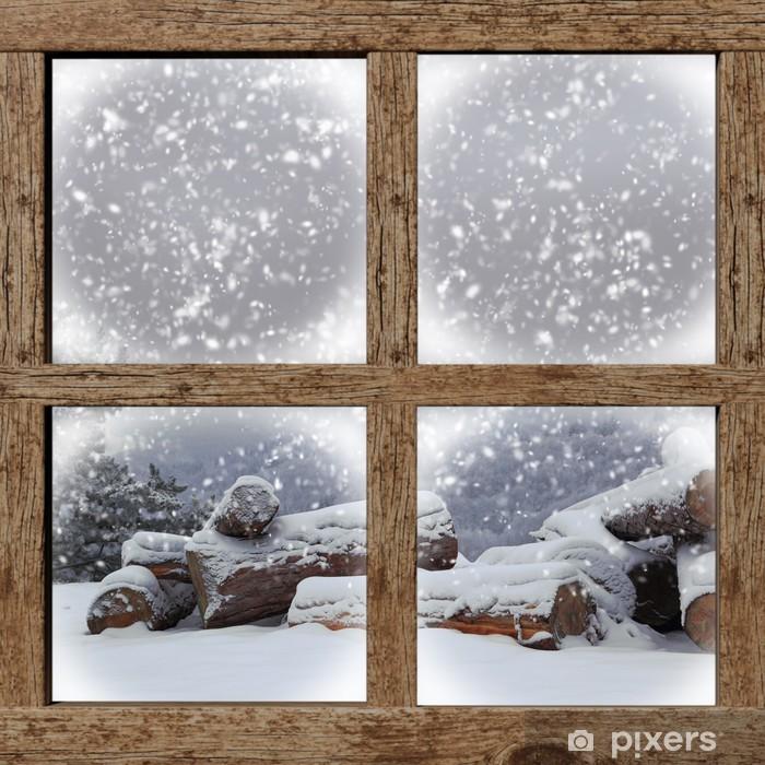 Pixerstick Sticker Winter buiten bekijken met brandhout stapel van houten raam - Thema's