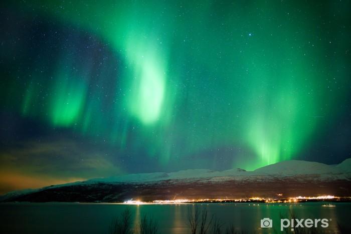 Pixerstick Sticker Groene aurora borealis dansen in de lucht - Thema's