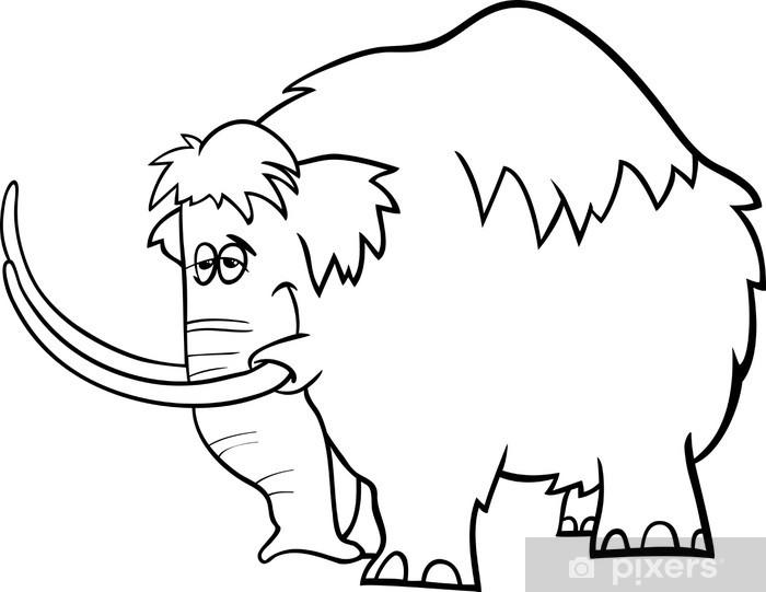 Fotomural Pagina Para Colorear De Dibujos Animados De Mamut