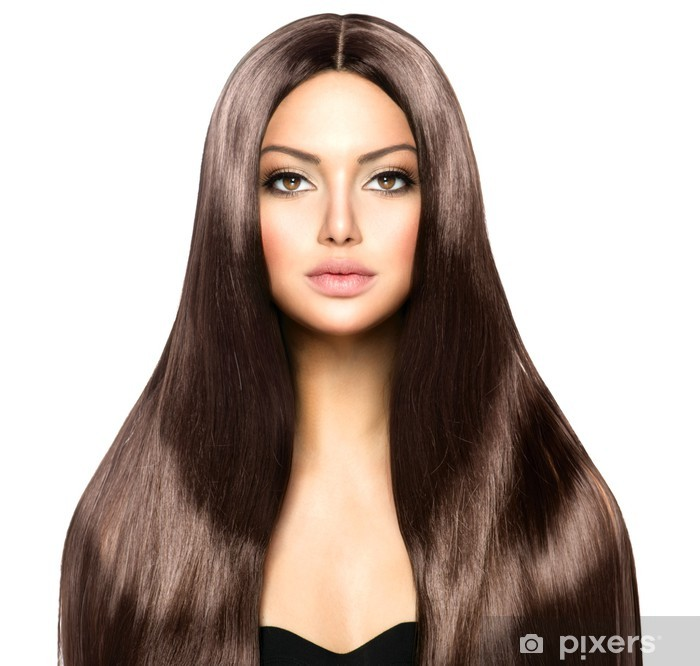 Plakát Krásná žena s dlouhými zdravé a lesklé Smooth Brown vlasy - Móda