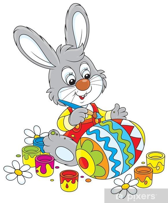 Fotomural Pequeño conejo colorear un huevo de Pascua • Pixers ...
