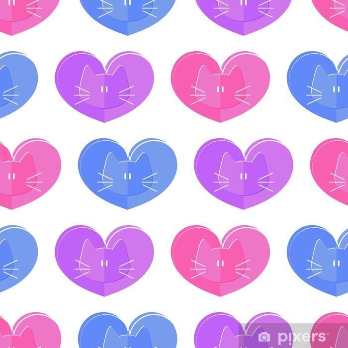 Póster Seamless pattern gatos tema romántico y corazones - Mamíferos