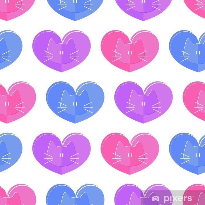 Poster Seamless romantiques chats à thème et des coeurs - Mammifères