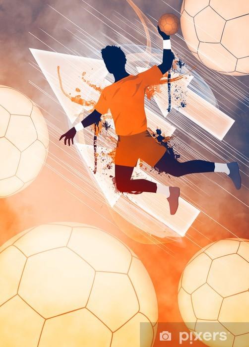 Klesskapklistremerke Håndball mann bakgrunn - Sport og Idrett