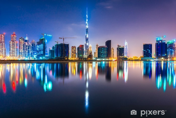 Dubai skyline at dusk, UAE. Pixerstick Sticker - Themes