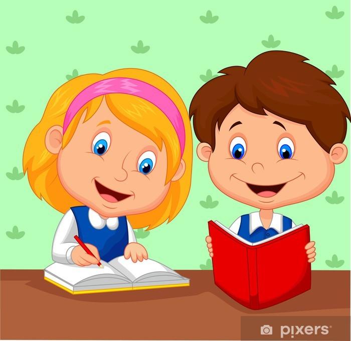 7ff7e2bd4d9515 Sticker Jongen en meisje samen studeren • Pixers® - We leven om te ...