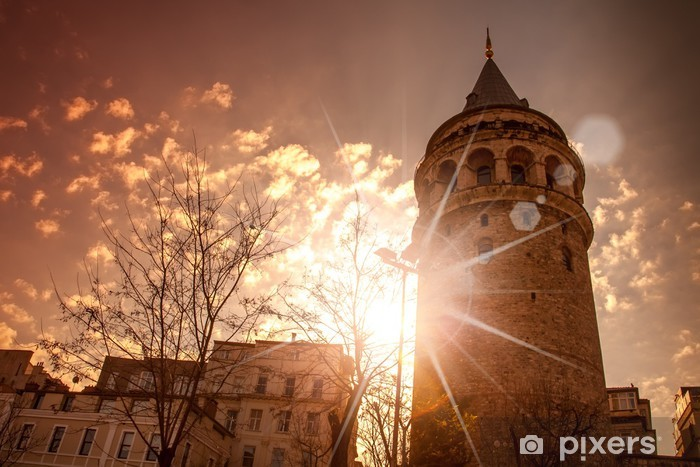 Galata Tower, Istanbul, Turkey, at sunset sky Vinyl Wall Mural - Asia