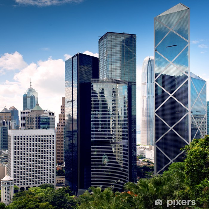 Nálepka Pixerstick Hong Kong City centrum mrakodrapy - Jiné