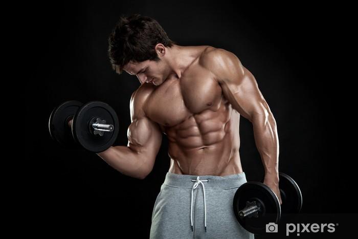 Fotomural Estándar Chico culturista muscular que hace ejercicios con pesas sobre bla -