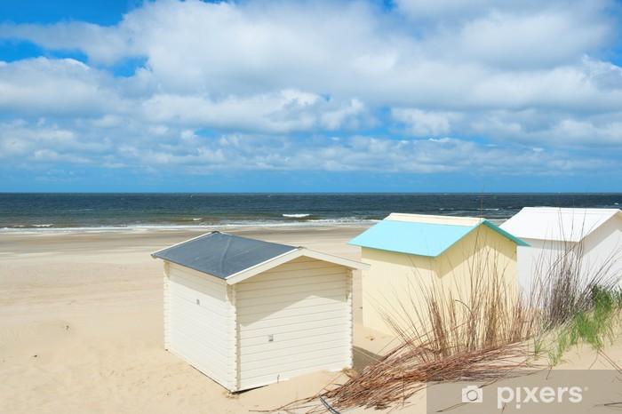 fotobehang - vinyl strand hutten op texel